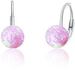 Jemné stříbrné náušnice s růžovými syntetickými opály SVLE0783XF6O400