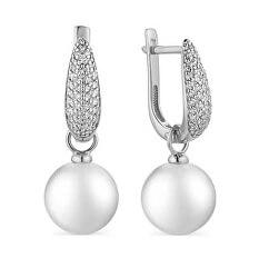Luxusné strieborné náušnice so syntetickými perlami a zirkónmi SVLE1039XH2P100