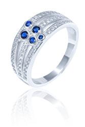 Luxusní stříbrný prsten s modrými zirkony SVLR0341XH2BM