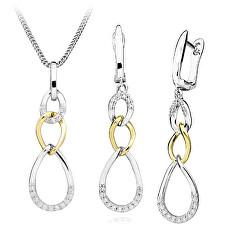 Módní bicolor sada stříbrných šperků (náušnice, přívěsek)