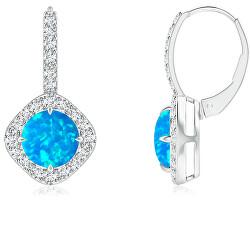 Něžné stříbrné náušnice s modrými syntetickými opály SVLE0675XH2O200