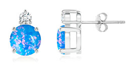Nežné strieborné náušnice s modrými syntetickými opály SVLE0846XH2O300
