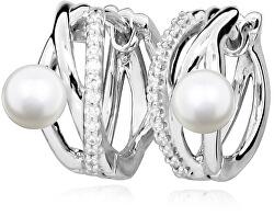 Něžné stříbrné náušnice s pravými perlami SVLE0345SH8P100