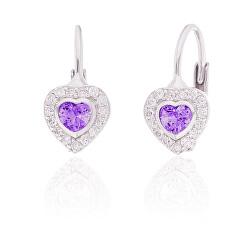 Okouzlující stříbrné náušnice fialová srdíčka SVLE0310XI2F100