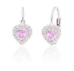 Okouzlující stříbrné náušnice růžová srdíčka SVLE0310XI2R200