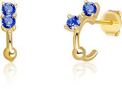 Pozlacené náušnice kruhy ze stříbra s modrými zirkony SVLE0701XH2GM00