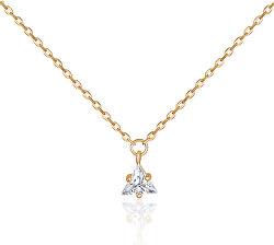 Pozlacený náhrdelník s čirým zirkonem SVLN0362SH2BI42