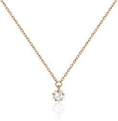 Pozlacený náhrdelník s čirým zirkonem SVLN0363SH2GO42