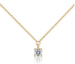 Pozlacený náhrdelník s čirým zirkonem SVLN0365SH2GO42