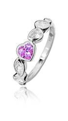 Romantický strieborný prsteň so zirkónmi SVLR0148SH8R2