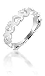 Romatický stříbrný prsten se srdíčky SVLR0294XH200