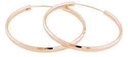 Růžově pozlacené stříbrné náušnice kruhy SVLE0209XD5RO