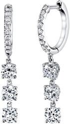 Slušivé stříbrné náušnice kruhy s čirými zirkony SVLE0838XH2BI00