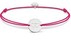 Šňůrkový růžový kabala náramek Dvě srdce SVLB0139XH20000