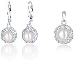 Stříbrná sada šperků s perlami SVLS0037SH2P100 (přívěsek, náušnice)