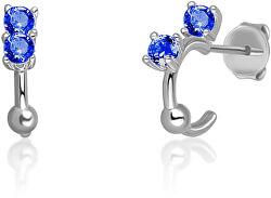 Stříbrné náušnice kruhy s modrými zirkony SVLE0701XH2M100
