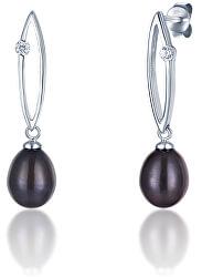 Stříbrné náušnice s tmavými perlami SVLE0166SD2P500