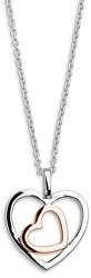 Stříbrný bicolor náhrdelník Srdce SVLN0155XH2BK42 (řetízek, přívěsek)