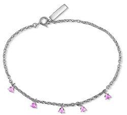 Ezüst karkötő rózsaszín háromszögekkel SVLB0362SH2R217