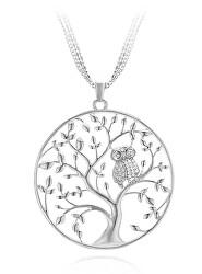 Stříbrný přívěsek se zirkony Strom života se sovičkou SVLP0527XH2BI00