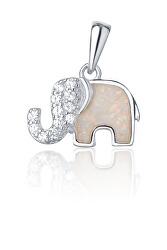 Strieborný prívesok slon s bielym opál SVLP0716XI2BI00