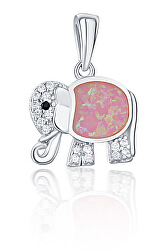 Stříbrný přívěsek slon s růžovým opálem SVLP0718XI2R200