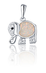 Stříbrný přívěsek slon se světle růžovým opálem SVLP0718XI2BI00