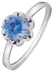 Stříbrný prsten s modrým zirkonem SVLR0015SD5M2