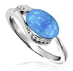 Strieborný prsteň so syntetickým opálom SVLR0041SH8O2