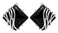 Štýlové strieborné náušnice s čiernym onyxom SVLE0356SH8BL00