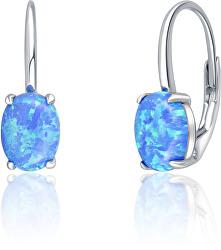 Trblietavé strieborné náušnice s modrými syntetickými opály SVLE0695XH2O300