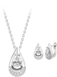 Zvýhodněná sada šperků s čirými třpytivými zirkony (náušnice, přívěsek)