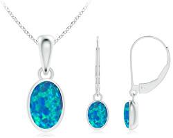 Zvýhodnená sada šperkov sa syntetickými opály JVD (náušnice, prívesok)