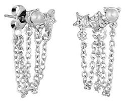 Luxusní náušnice s perličkami a krystaly Mini Rocky Multi-Charm Chain Swag 5483735