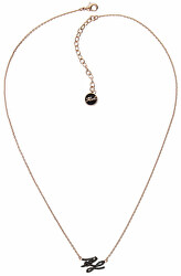 Pozlacený náhrdelník s třpytivými krystaly KL Script Logo 5512229