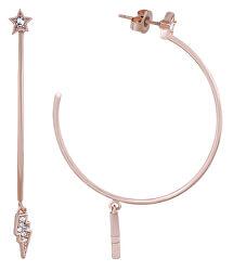 Růžově zlacené kruhové náušnice s krystaly Mini Rocky Multi-Charm Hoop 5483744