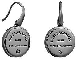 Slušivé černé náušnice s výrazným logem 5545291