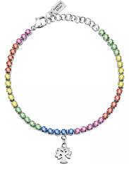 Farebný oceľový náramok s kryštálmi Family LPS05ARR72