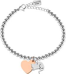 Bicolor ocelový náramek Kočka a Srdce LPS05AQI07