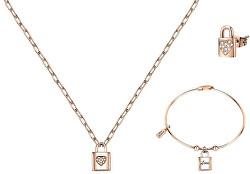 Bronzová zvýhodnená sada šperkov s visiacim zámkom (náramok, náhrdelník, single náušnice)