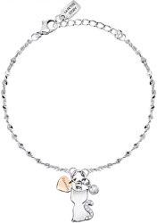 Něžný řetízkový náramek Kočka a srdce LPS05ASF19
