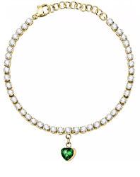 Pozlacený ocelový náramek se zeleným srdíčkem Love LPS05ASD28