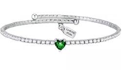 Romantický náramok so zeleným srdiečkom Love LPS05ASD22