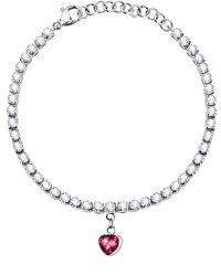Romantický ocelový náramek s krystaly Love LPS05ASD26