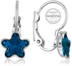 Dievčenské náušnice s modrým kryštálom STARBLOOM