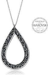 Krásny náhrdelník s čiernymi kryštálmi SS Rocks Pear 49 grey metal