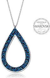 Krásny náhrdelník s kryštálmi SS Rocks Pear 49 bermuda blue