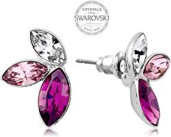 Náušnice s tromi kryštály vo fialových odtieňoch Navette