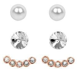 Náušnice Set Ear Cuff 4 v 1 Rose Gold Crystal White