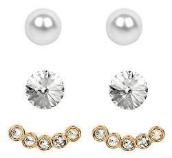 Náušnice Set Ear Cuff 4 v 1 Gold Crystal White
